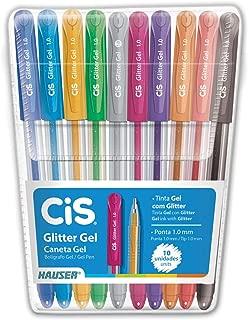 Caneta Gel, CIS, Glitter, 52.0200, Pacote com 10, Multicolor