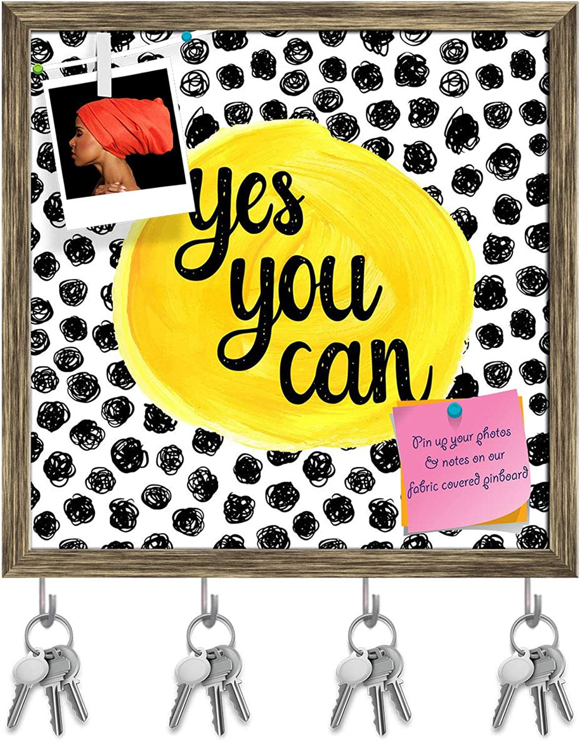 Artzfolio Yes You Can Key Holder Hooks   Notice Pin Board   Antique golden Frame 20 X 20Inch