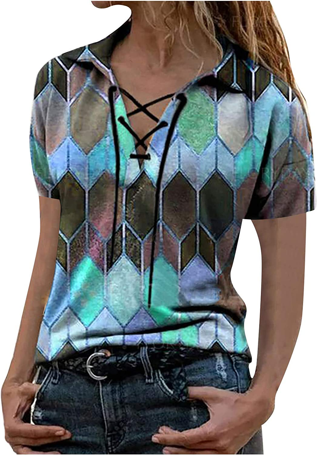 AODONG T-Shirts for Women with Sleeves Summer Bandage Neck Blouse Tops Casual T-Shirt Pullover Henley Shirts