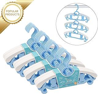 Zebricolo Perchas Infantiles para Bebé Niños Ajustables de Plástico Antideslizantes para Ropa Resistentes (20 Azul)