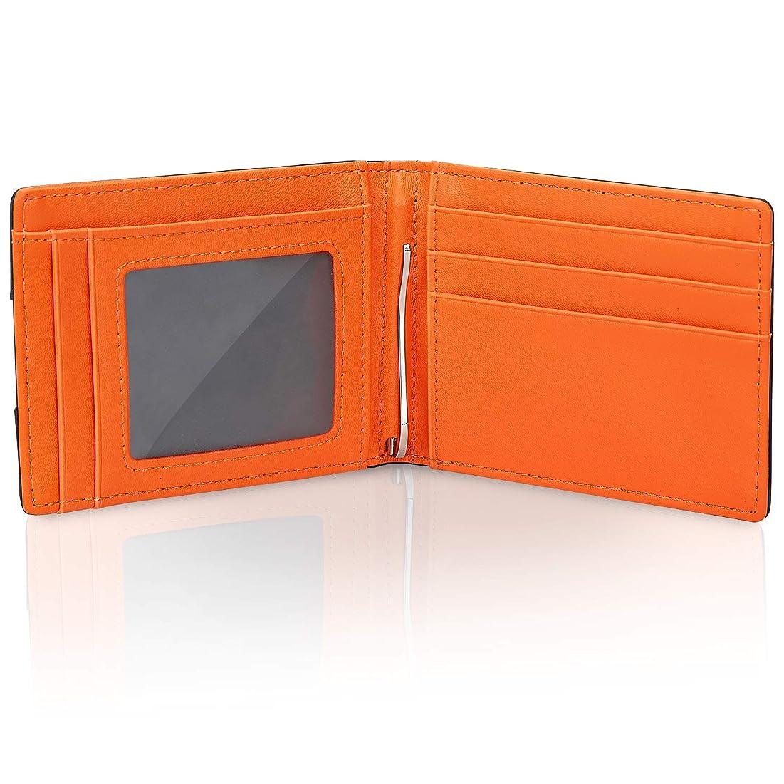 汗移住するアパートマネークリップ 二つ折り 財布 メンズ 牛革 札ばさみ 薄い 軽い 小銭入れ付き レザー 化粧箱付き