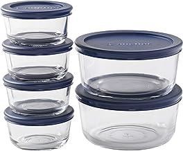 حاويات تخزين الطعام المستديرة من آنكور هوكينغ مع أغطية بحرية، أحجام مختلطة (12 قطعة، أغطية قابلة لإعادة الاستخدام خالية من...