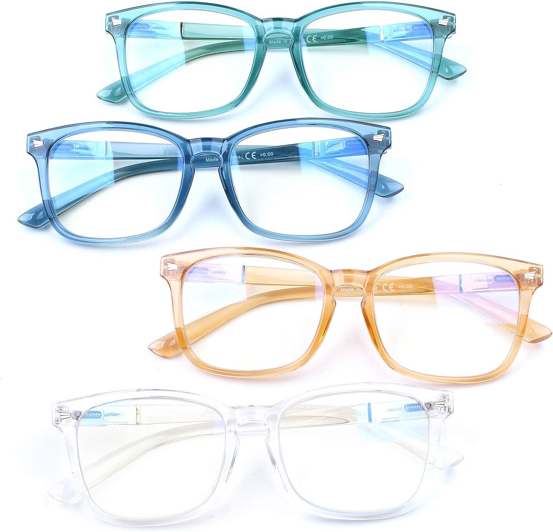 Henotin 4-Pack Max Direct store 64% OFF Blue Light Blocking Women Spr Men Glasses Reading