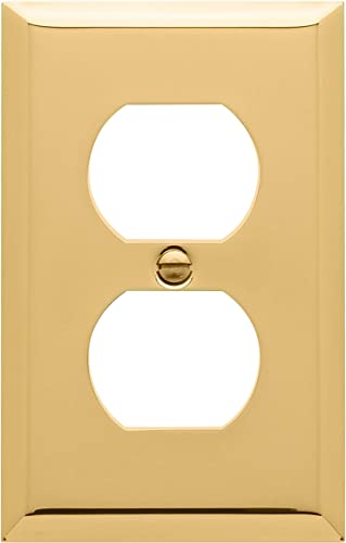 """lowest Baldwin Estate 4752.030.CD Square online sale Beveled Edge Duplex Wall outlet online sale Plate in Polished Brass, 4.5""""x2.75"""" sale"""