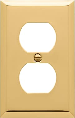 "Baldwin Estate 4752.030.CD Square Beveled Edge Duplex Wall Plate in Polished Brass, 4.5""x2.75"""