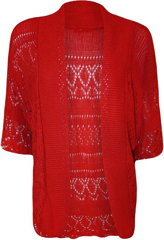 FashionMark Women's Plus Size Crochet Knitted Cardigan Shrug