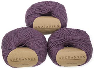 100% Baby Alpaca Yarn (Weight #3) DK - Set of 3 - AndeanSun - Luxuriously Soft for Knitting, Crocheting - Great for Baby Garments, Scarves, Hats, and Craft Projects - (Purple Aurora Borealis Heather)