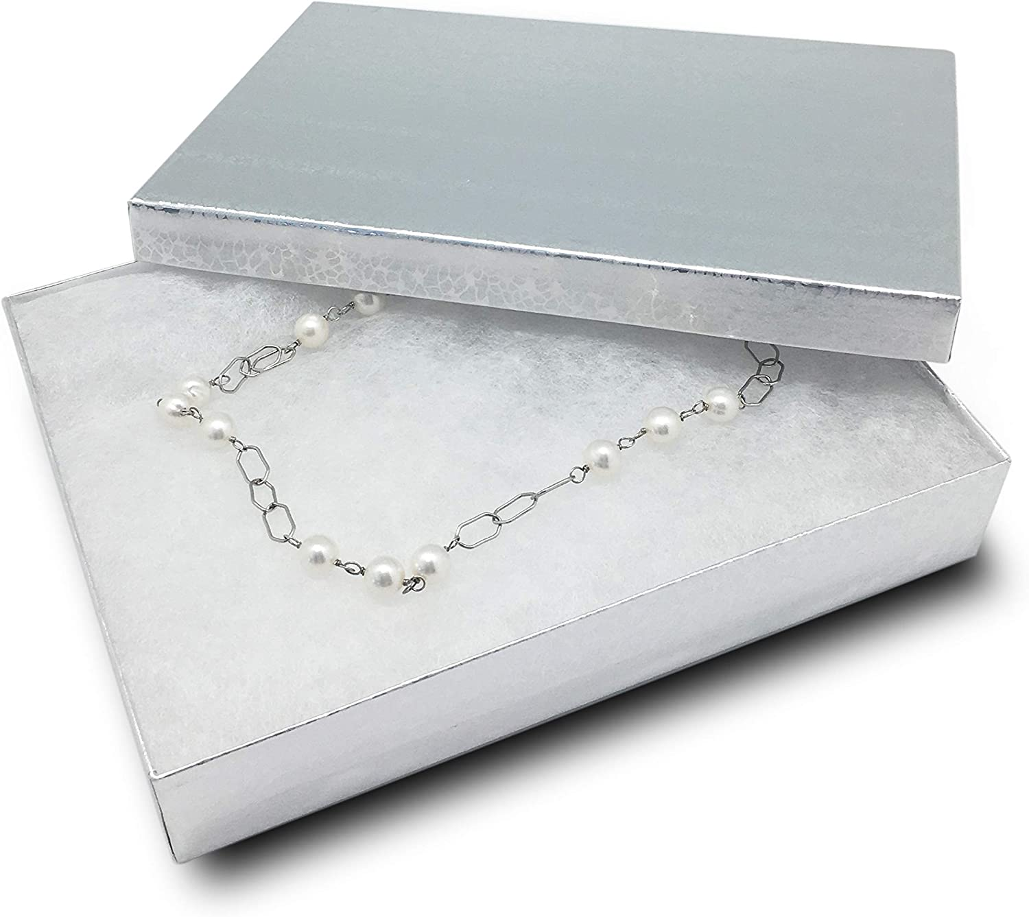 TheDisplayGuys Pack Cheap super special price of 25 Super beauty product restock quality top Cotton Cardboard Filled J Silver Paper