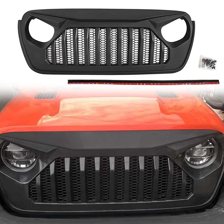 Modifying Front Grille Black Eagle Eyes Style Grill Guard for Jeep Wrangler JL 2018-2019