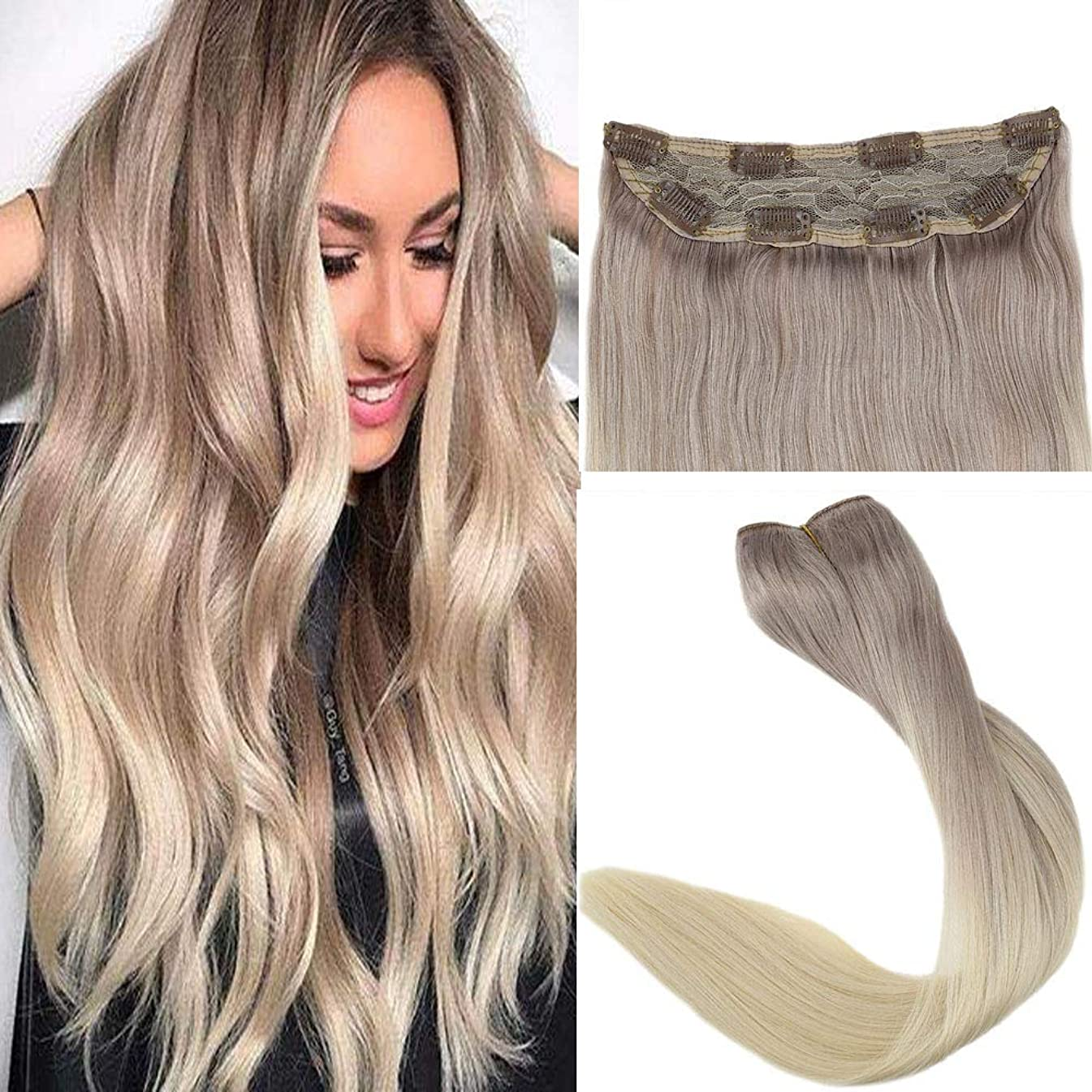 Easyouth 3/4 Head Clip Ins Hair 12 Inch 70g Color Ash Blonde Fading To White Blonde Balayage Clip In Hair Extensions Lace Area 10x3cm Clip in Hair Pieces
