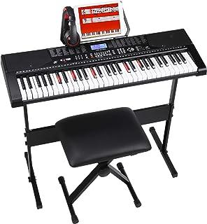 MVPower ClavierPiano61Touches, avec Casque, Stand de Piano, Pupitre et Tabouret, Mode Haut-parleur et d'Enregistrement,...