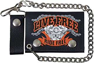 """Hot Leathers (WLB1009 BLACK, 4"""") 'Live Free, Ride Free' Leather Wallet"""