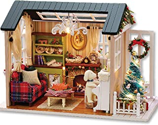 Fsolis DIY Dollhouse Miniature Kit with Furniture, 3D Wooden Miniature House with Dust Cover and Music Movement, Miniature Dolls House kit (Z9)