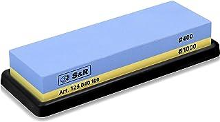 S&R 2-sidig Whetstone slipsten 18 x 6 x 3 cm med 400/1000 korn och silikonhållare, 100 % korund
