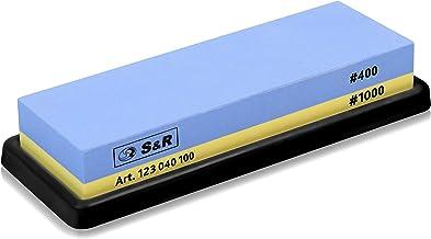 S&R dubbelzijdige Slijpsteen 18 x 6 x 3 cm, Slijpsteen met korrel 400/1000 en siliconenhouder, Slijpsteen van 100% korund