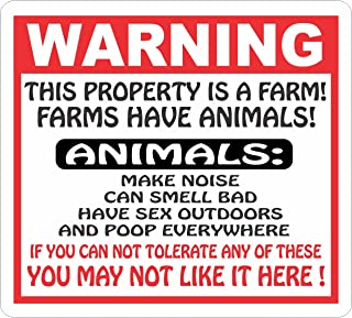 Applicable Pun Notice This Property is a Farm 15 Inches Tall by 10 Inches Wide Aluminum Sign