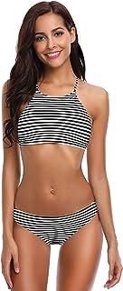 Mujeres Brasileños Trajes de Baño Cuello Alto Rayas Bikini Patrón Floral Traje de Baño de Dos Piezas