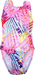 LETSQK Kids Toddler Girl One Piece Swimsuit Beach Wear Striped Leaves Swimwear Bathing Suits 4-10T