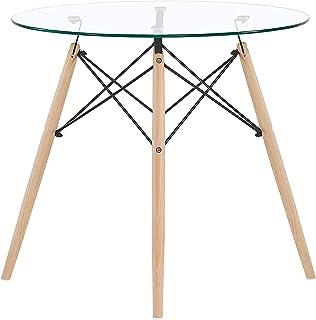 EGGREE Table Salle à Manger en Verre Ronde Table de Cuisine Scandinave Design, Pieds en Bois et Armature en Métal, 80x80x75cm