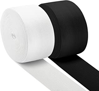 Coopay 11 Yards 1.5 Inch High Elastic Spool Knit Elastic Bands for Sewing, 2 Rolls, 5.5 Yards/Roll (Black and White, 1.5 Inch)