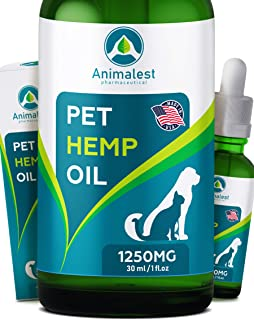 Animalest - Hemp Oil Dogs Cats - Anxiety, Hip Joint Pain, Arthritis, Stress, Seizures, Sleep, Tension - Remedy for Chronic Pains Problems - Omega 3,6,9 Pet Vitamins - 6in1 Calming Drops - 1250 Mg
