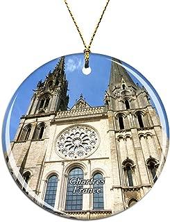 Weekinoフランスシャルトル大聖堂クリスマスデコレーションオーナメントクリスマスツリーペンダントデコレーションシティトラベルお土産コレクション磁器2.85インチ