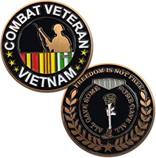 Vietnam Combat Veteran Challenge Coin with Soldier, Service Ribbon, and Battlefield Cross