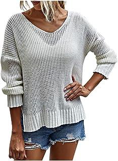 catmoew Jersey Punto Mujer Invierno Suéter Cuello en V Jerséis Manga Larga Camiseta Basico Suelto Cruzado Jerseys Camisa T...
