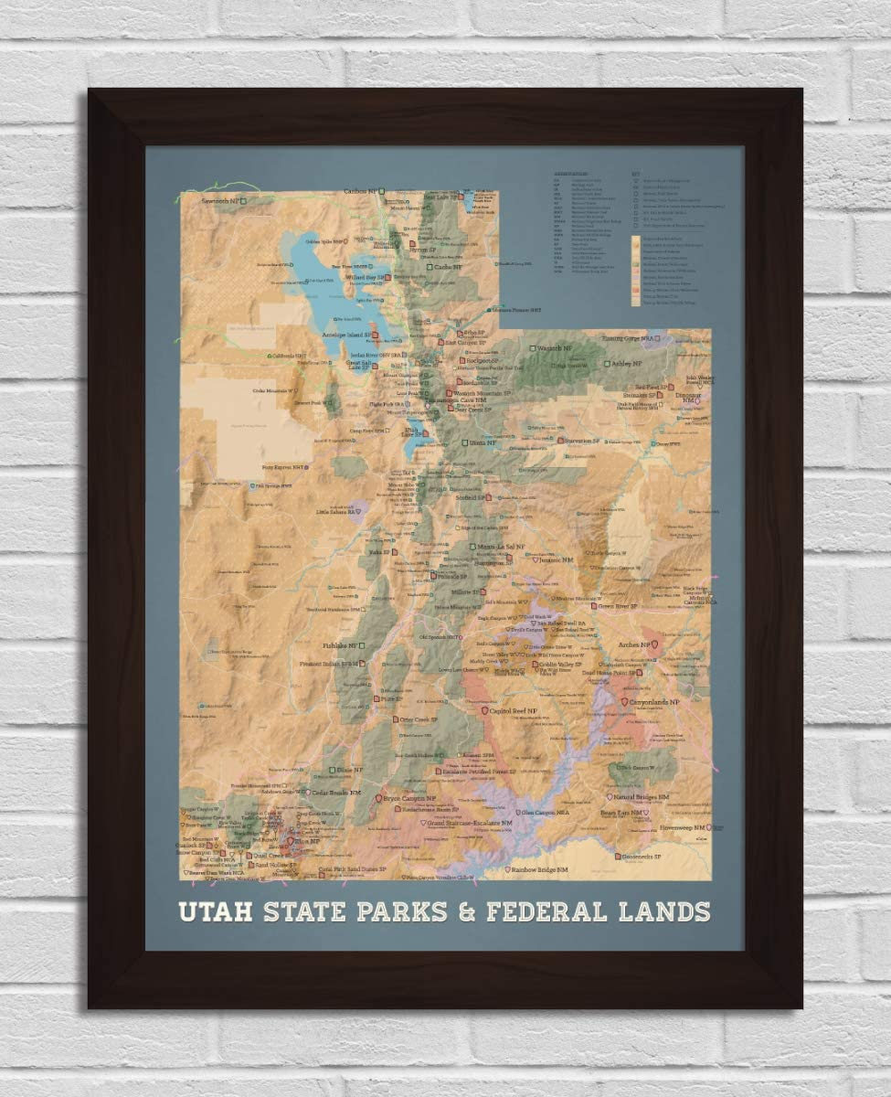 Best Maps Ever Utah State shopping Parks Bombing free shipping Poster Map 18x24 Federal Lands