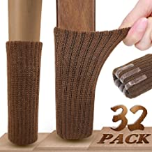 Chair Leg Socks, Ravmix 32PCS Knitted Elastic Furniture Socks Chair Leg Floor Protectors with Rubber Strips, Fit Square Round Furniture Feet with Circumference from 2.7inch to 7inch, Coffee Brown