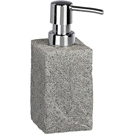 WENKO Distributeur de savon Granite - Distributeur de savon liquide, Capacité: 0.215 l, Polyrésine, 8.8 x 16 x 6.5 cm, Gris