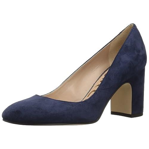2625f22b99052c Women s Blue Suede Block Pumps  Amazon.com
