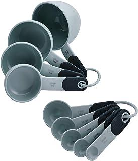Conjunto clássico de colheres e copos medidores KitchenAid KE475OHGSA, conjunto de 9, cinza