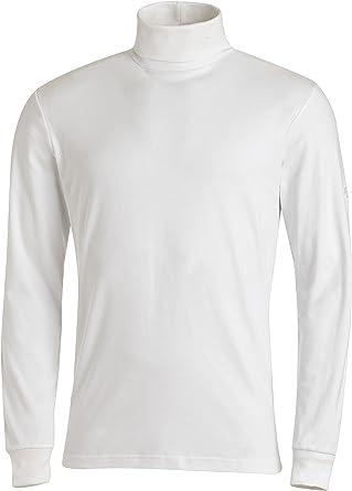 Medico - Camiseta de esquí de manga larga de 100 % algodón, cuello alto, para hombre