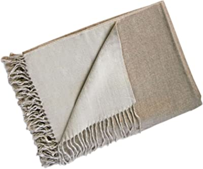 d1f4b96dfbb Reversible 100% Baby Alpaca Woven Throw Blanket ~ Beige Off-White