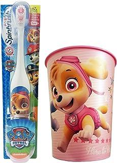 Paw Patrol Skye Toothbrush & Rinse Cup Set: 2 Items - Spinbrush Toothbrush, Pink Character Rinse Cup