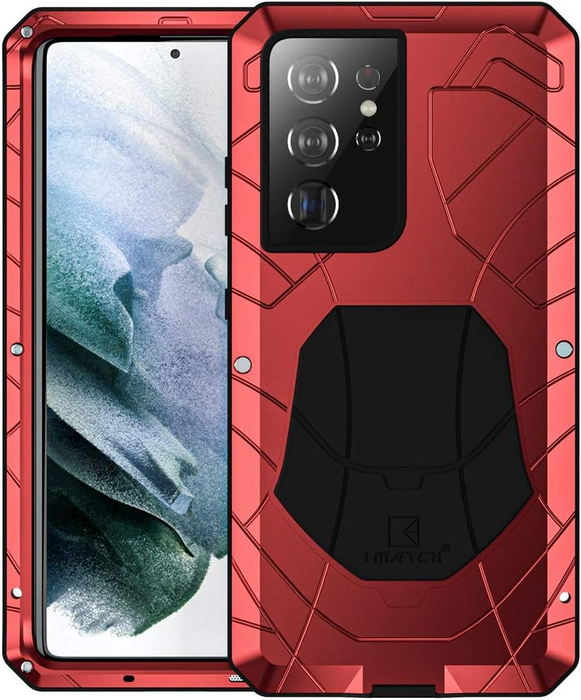 Foluu Galaxy S21 Ultra Case, Galaxy S21 Ultra Metal Phone Case, Aluminum Metal Shockproof Bumper Frame Case Soft Rubber Silicone Military Heavy Duty Hard Case for Samsung Galaxy S21 Ultra 2020 (Red)