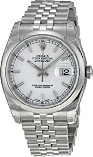 Rolex Mens New Style Heavy Band Stainless Steel Datejust Model 116200 Jubilee Band Stainless Steel Smooth Bezel White Stick Dial