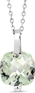 Gem Stone King 925 Sterling Silver Green Prasiolite Pendant Necklace 3.33 Ct Cushion Checkerboard Cut With 18 Inch Silver Chain