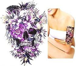 SKULL TATTOO doodskop paars bloemen tattoo voor li...