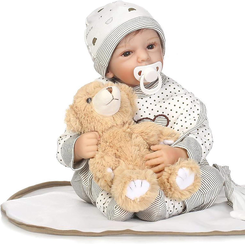 LBHE Reborn Babypuppe, 50cm Silikon Vinyl weicher Krper lebensechte Babypuppe mit Baby Puppenzubehr, Babyspielzeug