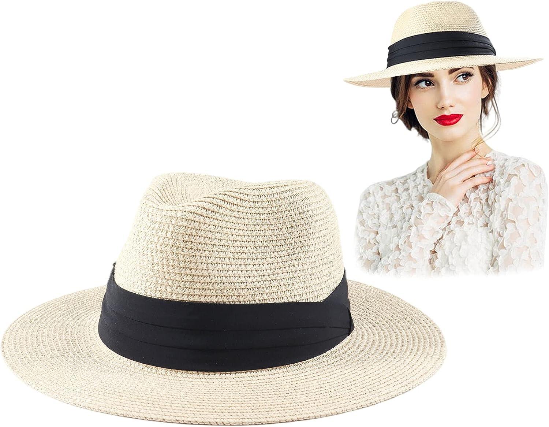 Elfcool Straw Panama Roll up Hat Floppy Fedora Hat Wide Brim Summer Beach Hat UPF50+ for Men Women