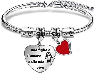 """Angelra Bracciale Figlia Famiglia Braccialetto Donna"""" mia figlia è l'amore della mia vita"""" Cuore Ciondolo con Incisione pe..."""