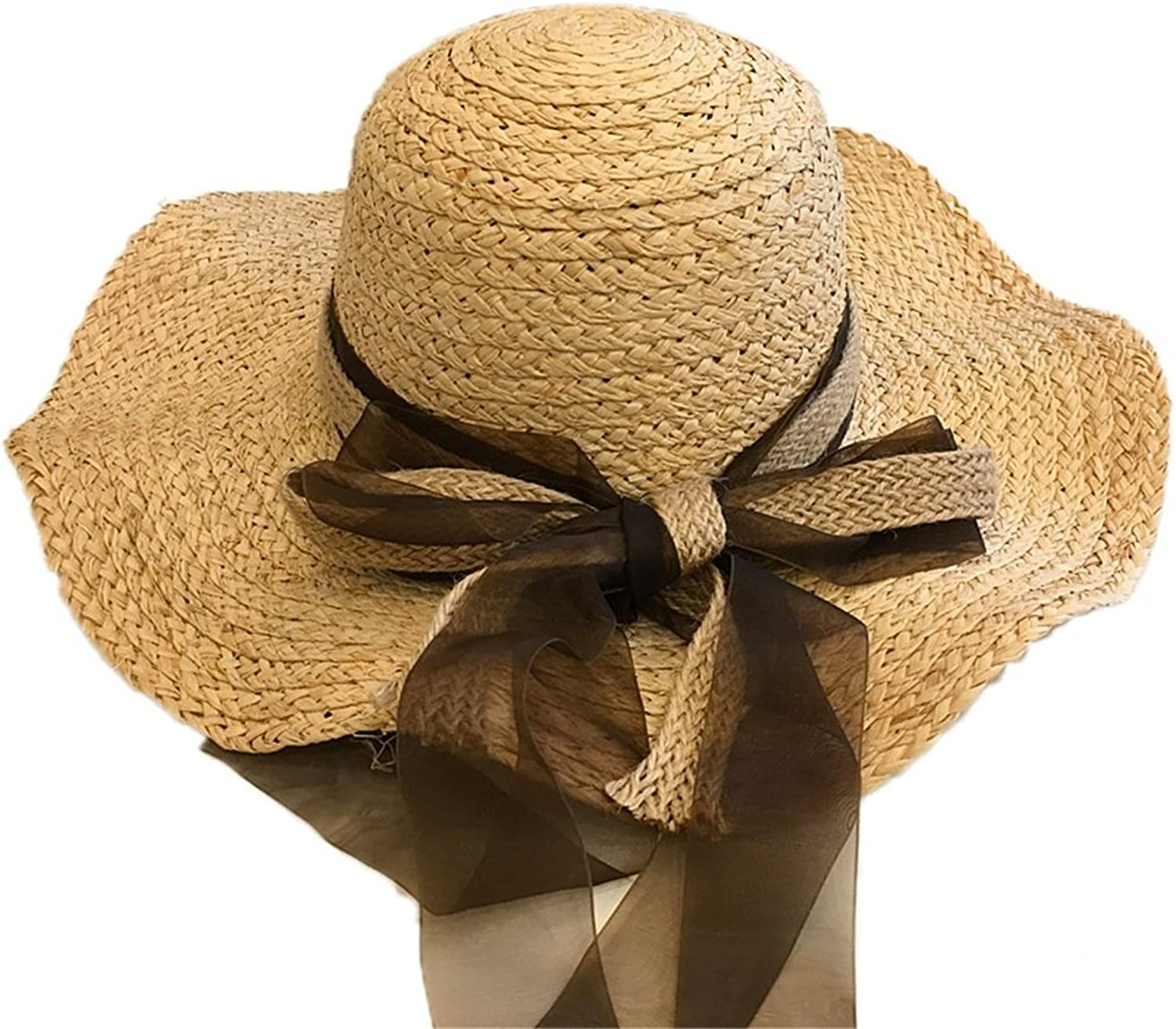 Women's Hat Bowknot Pure color Spring Summer Straw Hat Sunblock Sun Hat