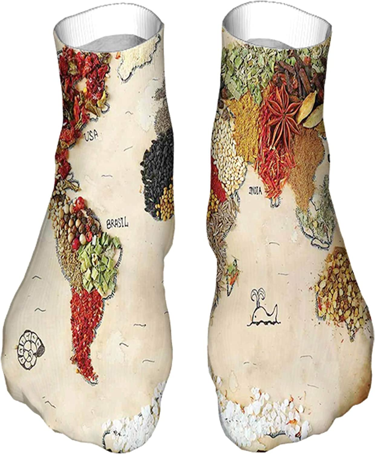Men's and Women's Fun Socks Printed Cool Novelty Funny Socks,Map of World Different Spices Design with Food Symbols