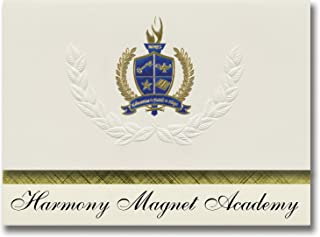 إعلان التوقيع أكاديمية هارموني مغناطيس (ستراثمور، كاليفورنيا) إعلان التخرج، نمط رئاسي، حزمة أساسية من 25 مع ختم رقائق معدن...