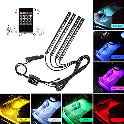 Car LED Strip Light, ONEKA-RGB 4pcs 48LED Multicolor Music Car Interior Lights Under Dash Lighting Waterproof Kit With Sound Active Function and Wireless Remote Control, DC 12V