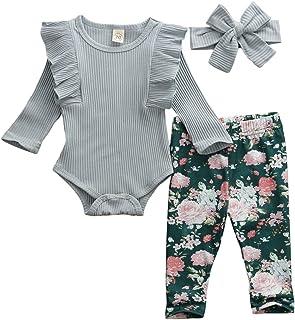 Geagodelia Ensemble de Vêtement pour Bébé Fille à Manches Longues + Pantalon Floral + Bandeau Nouveau-né Vêtement Chaud