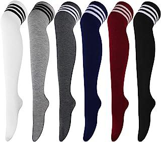 YSense 3//4 paires Chaussettes Hautes Montantes Femme Chaussettes de Genoux Longues Multicolore