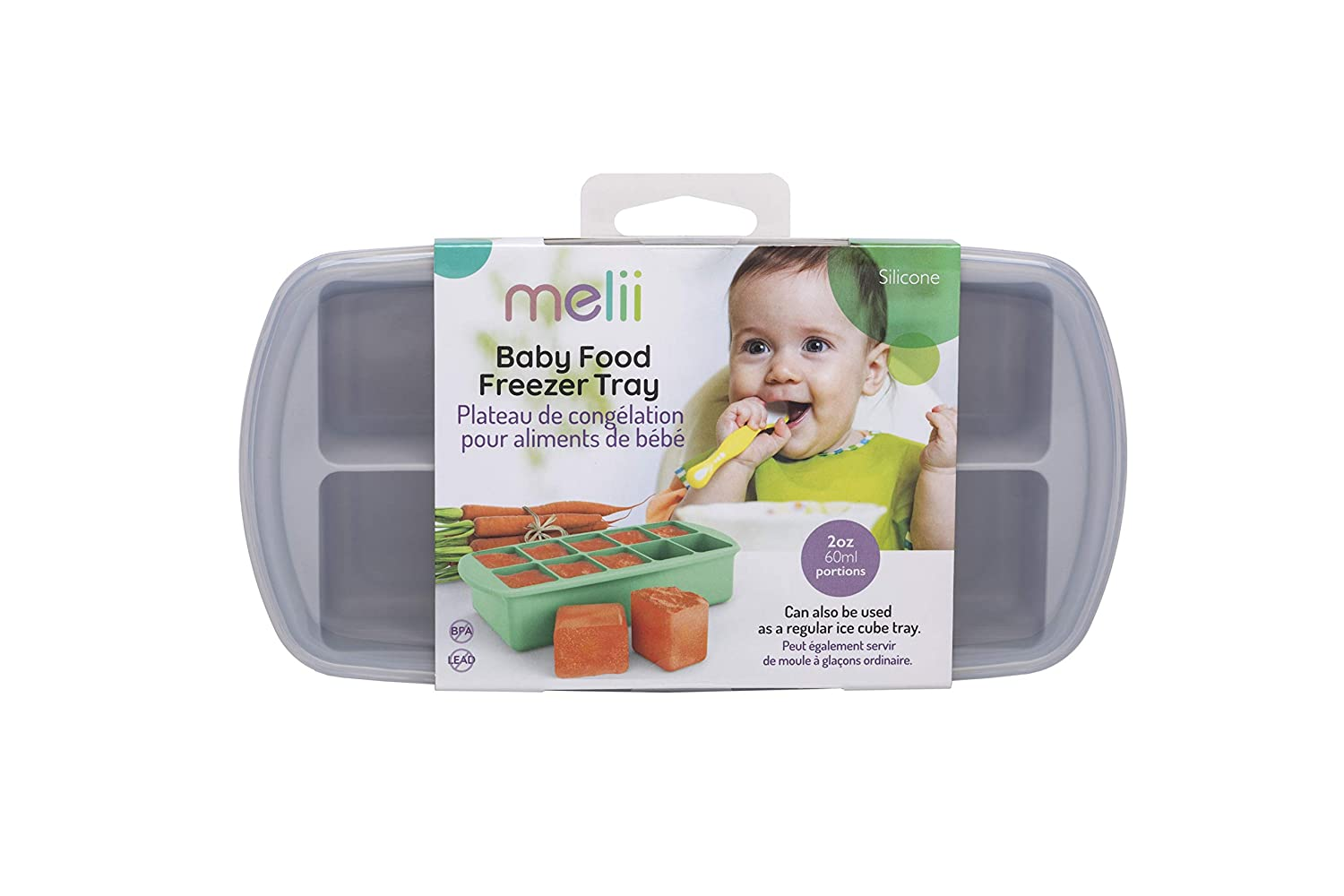 melii Silicone Baby Food Freezer Tray with Lid (Grey)